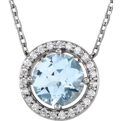 14kt White Gold 3/4 ct Aquamarine and Diamonds 16in Halo Necklace
