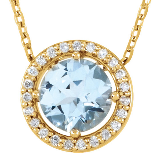 14kt Yellow Gold 3/4 ct Aquamarine and Diamonds 16in Halo Necklace