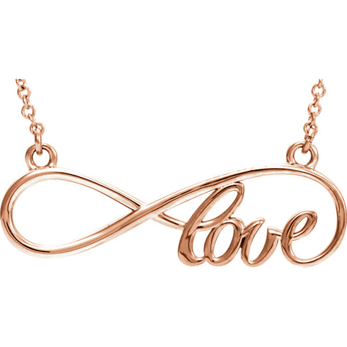 14kt Rose Gold Love Infinity 16in Necklace