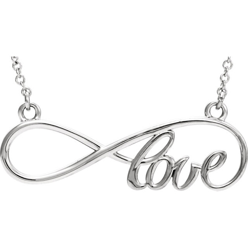14kt White Gold Love Infinity 16in Necklace