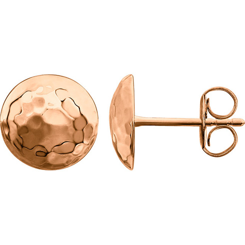 14kt Rose Gold 3/8in Hammered Disc Stud Earrings