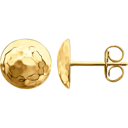 14kt Yellow Gold 3/8in Hammered Disc Stud Earrings