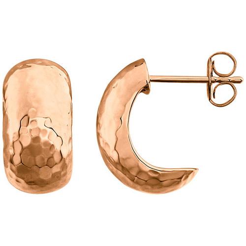 14kt Rose Gold 5/8in Hammered Hoop Earrings