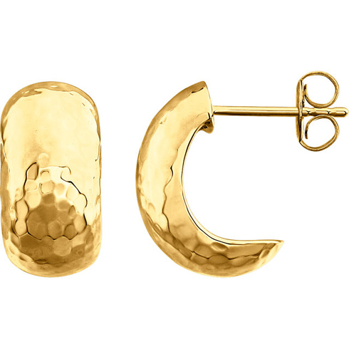14kt Yellow Gold 5/8in Hammered Hoop Earrings