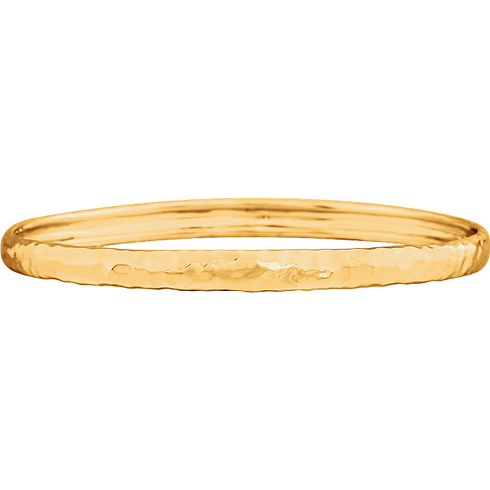 14kt Yellow Gold 7 1/2in Hammered Bangle Bracelet