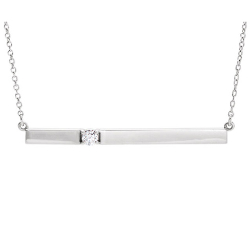 14kt White Gold 1/10 ct Diamond Bar 16in Necklace