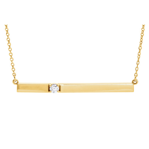 14kt Yellow Gold 1/10 ct Diamond Bar 16in Necklace