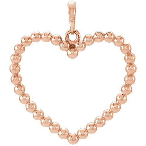 14kt Rose Gold 7/8in Beaded Heart Pendant