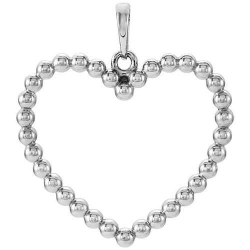 14kt White Gold 7/8in Beaded Heart Pendant