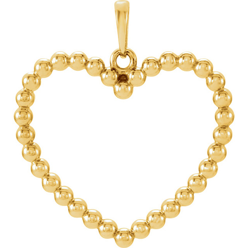 14kt Yellow Gold 7/8in Beaded Heart Pendant