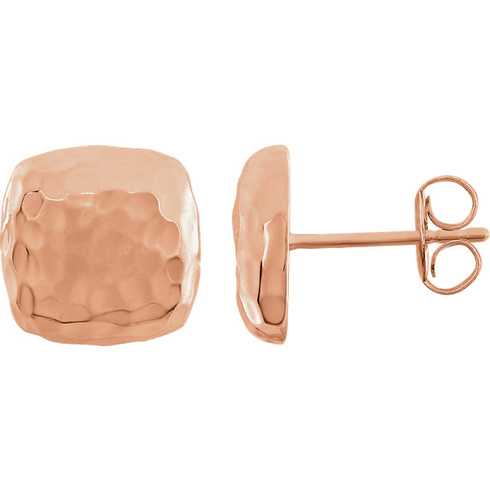 14kt Rose Gold 3/8in Square Hammered Stud Earrings