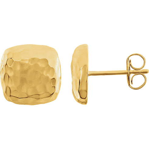 14kt Yellow Gold 3/8in Square Hammered Stud Earrings
