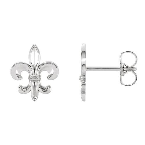 14kt White Gold 10mm Fleur-de-Lis Earrings