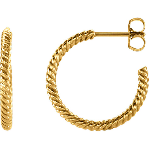 14kt Yellow Gold 17mm Hoop Earrings with Rope Design