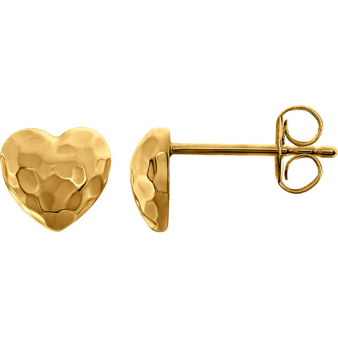 14kt Yellow Gold 5/8in Hammered Heart Earrings