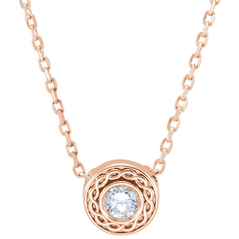 14kt Rose Gold 1/10 ct Diamond Rope Slide 16in Necklace