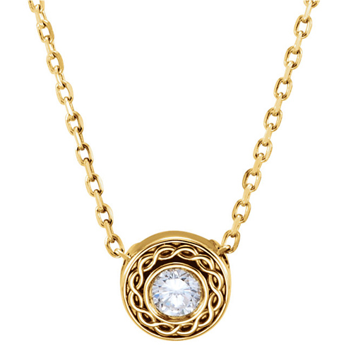 14kt Yellow Gold 1/10 ct Diamond Slide with Fancy Border 16in Necklace