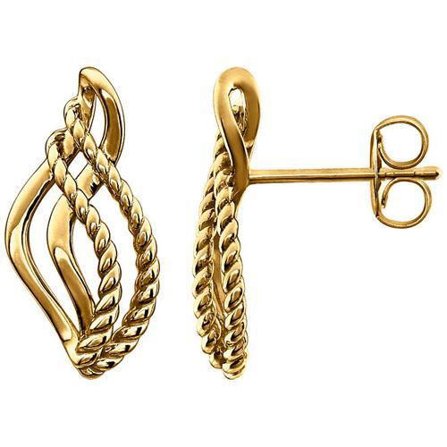 14kt Yellow Gold 5/8in Rope Teardrop Earrings