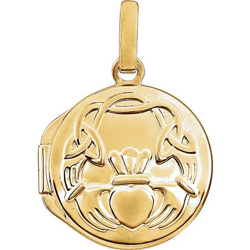 14kt Yellow Gold Round Claddagh Locket