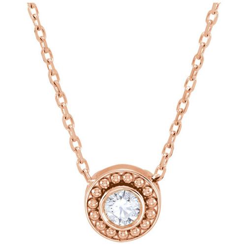 14kt Rose Gold 1/10 ct Diamond Beaded Slide Necklace