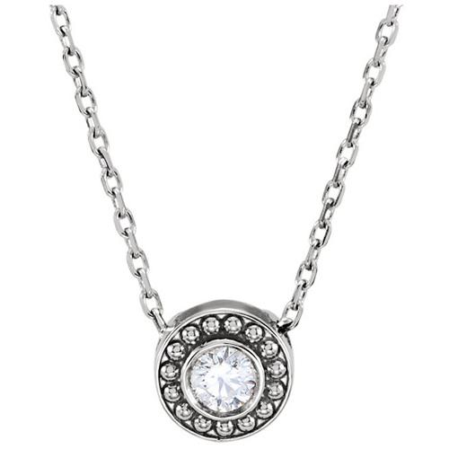 14kt White Gold 1/10 ct Diamond Beaded Slide Necklace