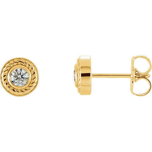 14kt Yellow Gold 1/5 ct Diamond Rope Stud Earrings