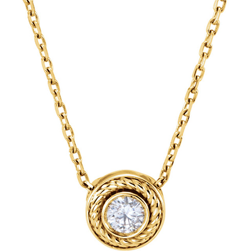 14kt Yellow Gold 1/10 ct Diamond Rope Slide 16in Necklace