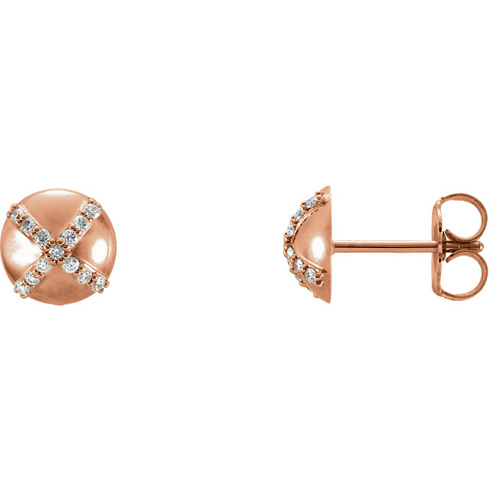 14kt Rose Gold 1/8 ct Diamond Accent Button Earrings