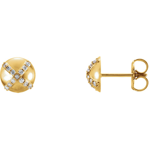 14kt Yellow Gold 1/8 ct Diamond Accent Button Earrings