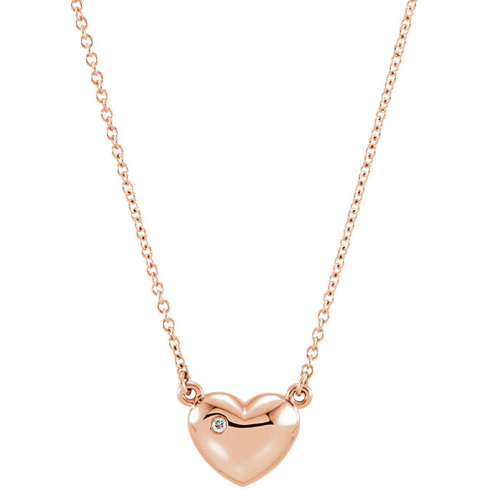 14kt Rose Gold .01 ct Diamond Heart 16in Necklace