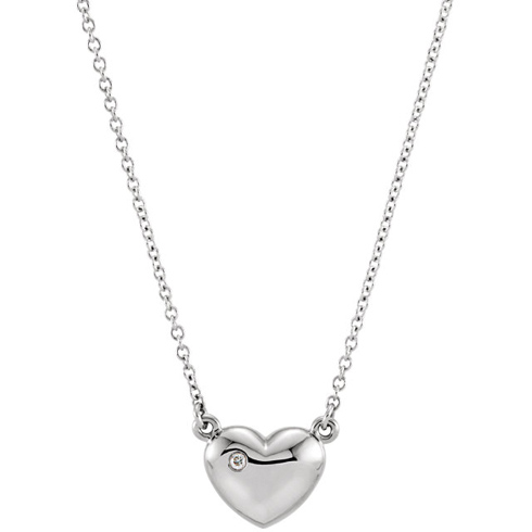 14kt White Gold .01 ct Diamond Heart 16in Necklace