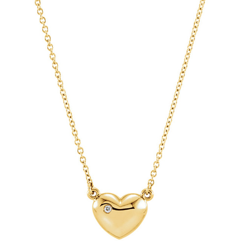 14kt Yellow Gold .01 ct Diamond Heart 16in Necklace