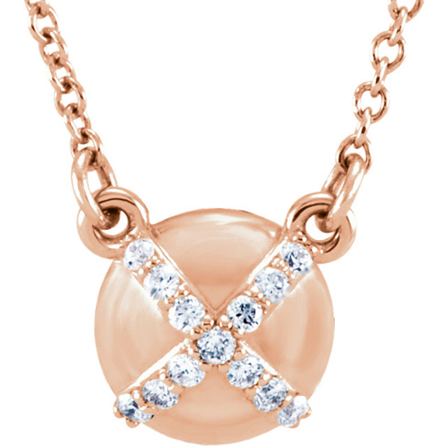 14kt Rose Gold .07 ct Diamond Accent Button 16in Necklace