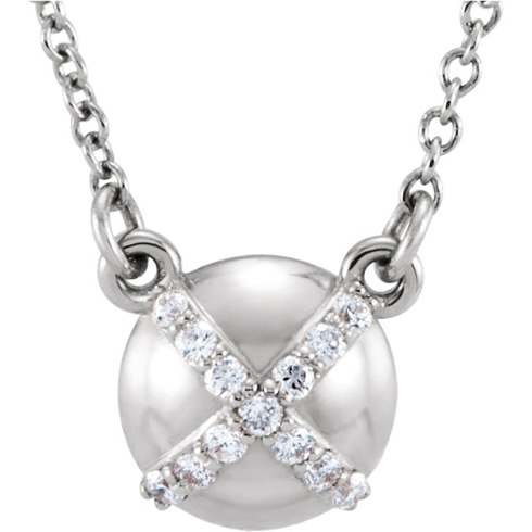 14kt White Gold .07 ct Diamond Accent Button 16in Necklace
