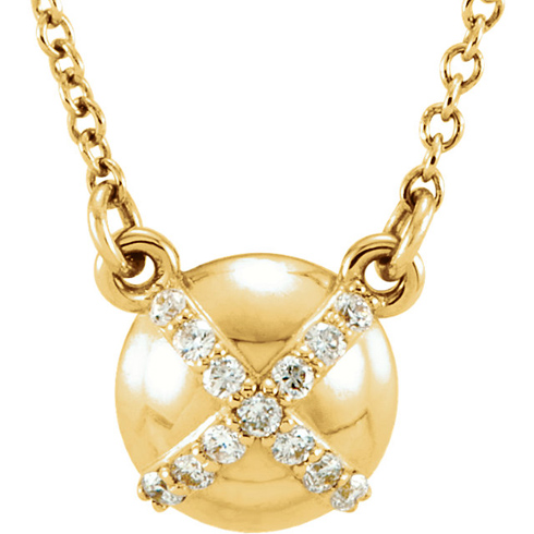 14kt Yellow Gold .07 ct Diamond Accent Button 16in Necklace
