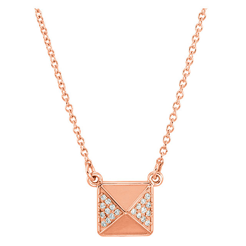 14kt Rose Gold .05 ct Diamond Pyramid 16in Necklace
