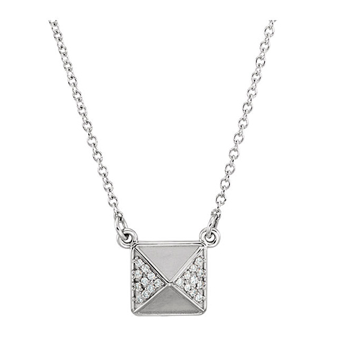 14kt White Gold .05 ct Diamond Pyramid 16in Necklace