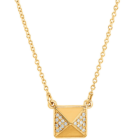 14kt Yellow Gold .05 ct Diamond Pyramid 16in Necklace