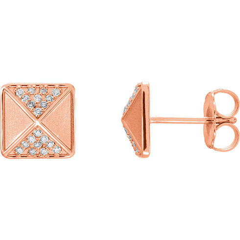 14kt Rose Gold 1/10 ct Diamond Pyramid Earrings