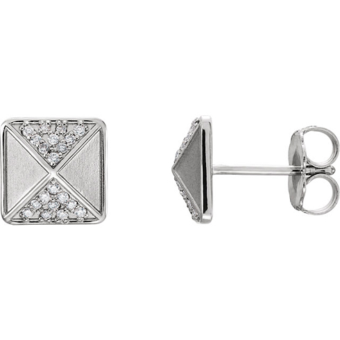 14kt White Gold 1/10 ct Diamond Pyramid Earrings