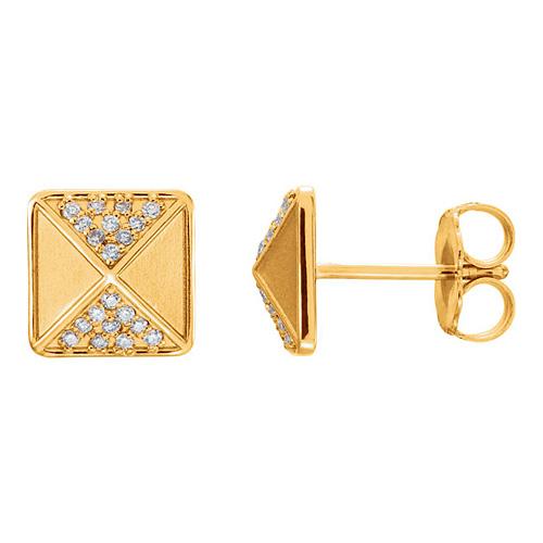 14kt Yellow Gold 1/10 ct Diamond Pyramid Earrings