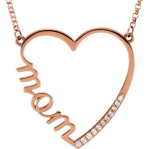 14kt Rose Gold 1/10 ct Diamond Mom 16in Necklace