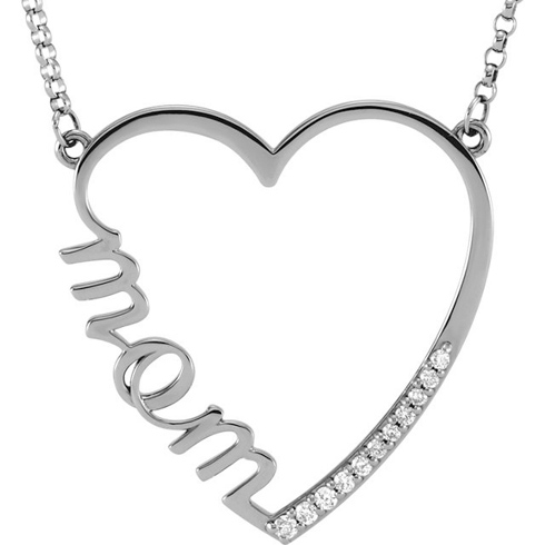 14kt White Gold 1/10 ct Diamond Mom 16in Necklace