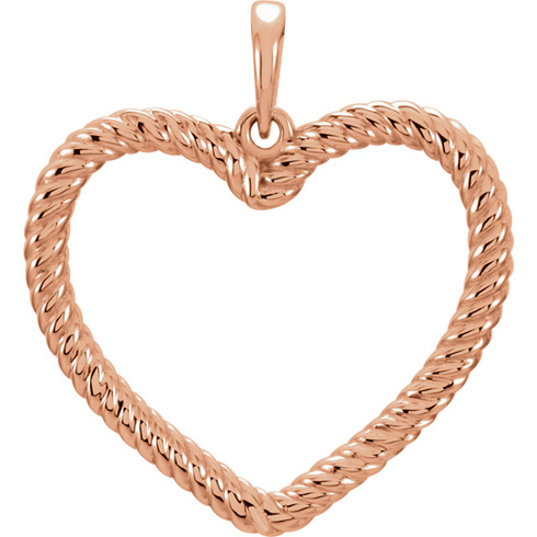 14kt Rose Gold 7/8in Rope Heart Pendant