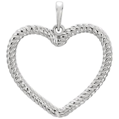 14kt White Gold 7/8in Rope Heart Pendant