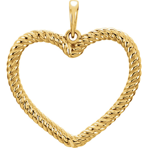 14kt Yellow Gold 7/8in Rope Heart Pendant