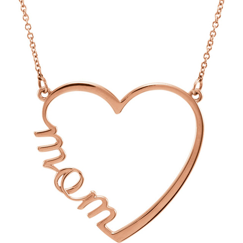 14kt Rose Gold Mom Heart 17in Necklace