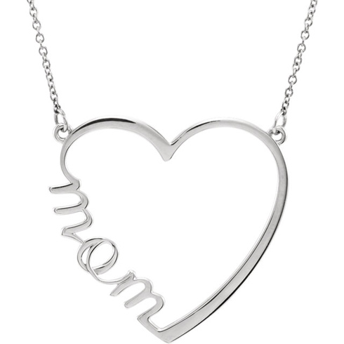 14kt White Gold Mom Heart 17in Necklace