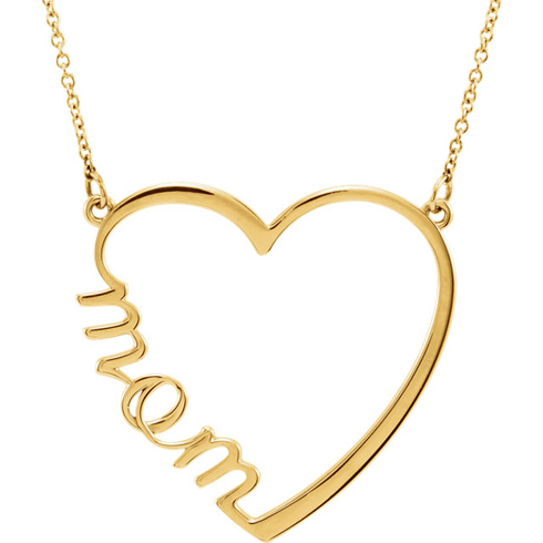 14kt Yellow Gold Mom Heart 17in Necklace