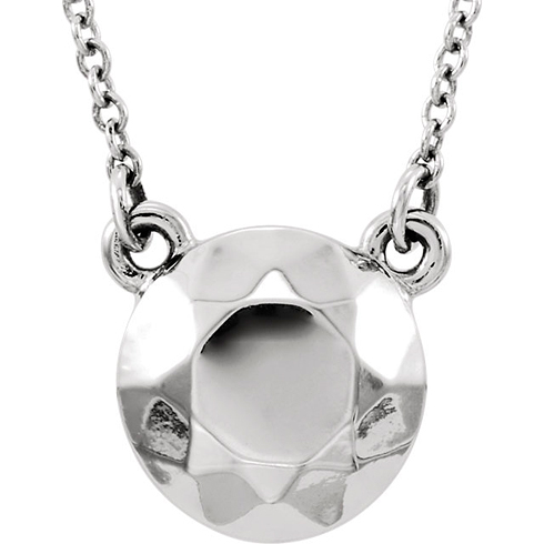 14kt White Gold Faceted Design Circle 16 1/2in Necklace